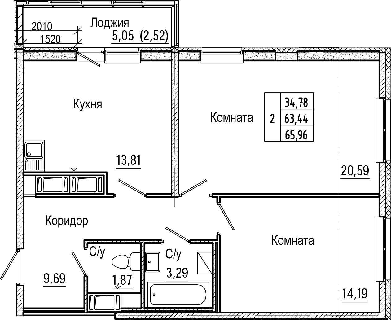 2-комнатная, 65.96 м²– 2
