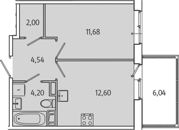 1-комнатная, 36.83 м²– 2