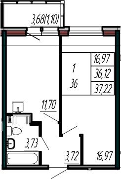 1-комнатная, 36.12 м²– 2