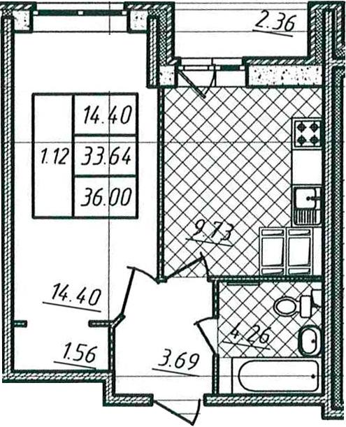 1-к.кв, 33.64 м²