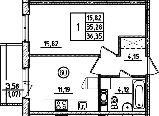 1-к.кв, 36.35 м², от 7 этажа