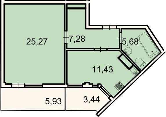 1-комнатная, 52.5 м²– 2