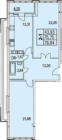 2-к.кв, 77.81 м², 4 этаж