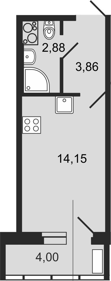 Студия, 22.09 м²– 2