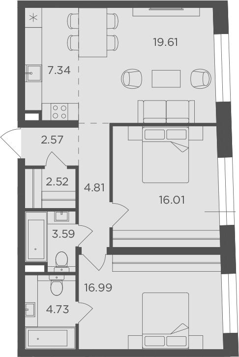 3Е-к.кв, 78.17 м², 3 этаж