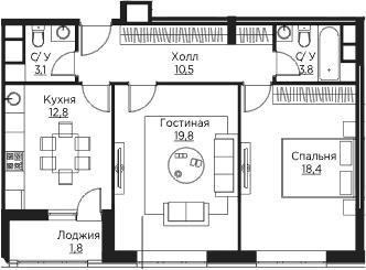 2-комнатная, 70.2 м²– 2