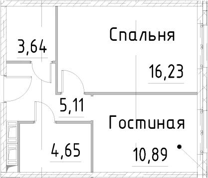 1-к.кв, 40.51 м², 23 этаж