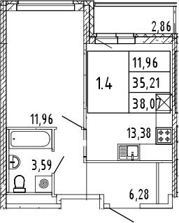 2Е-комнатная квартира, 36.64 м², 8 этаж – Планировка