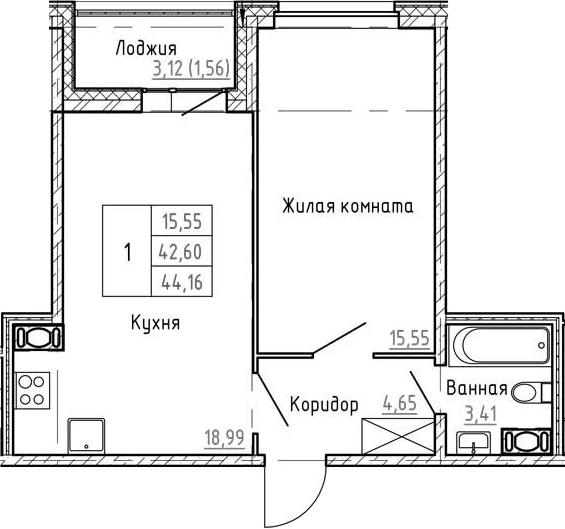 2Е-к.кв, 44.16 м², 2 этаж