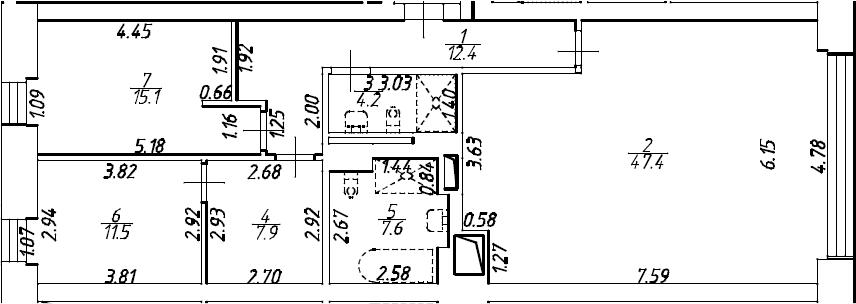 4Е-комнатная, 106.1 м²– 2