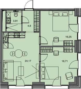 3Е-комнатная, 65.84 м²– 2