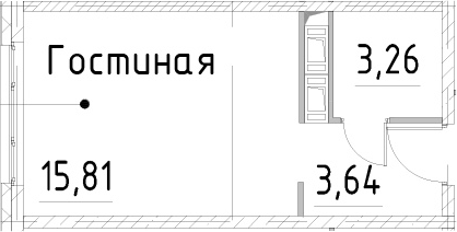 Студия, 22.71 м², 23 этаж – Планировка