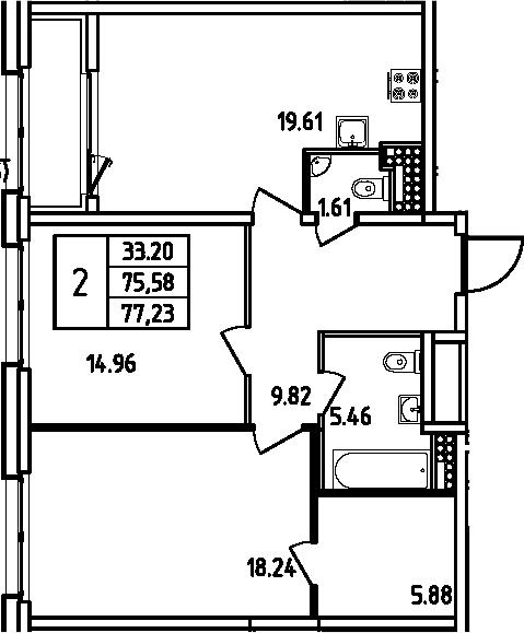 3Е-комнатная, 77.23 м²– 2