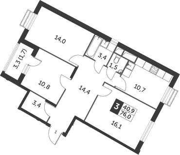 3-к.кв, 76 м², 12 этаж