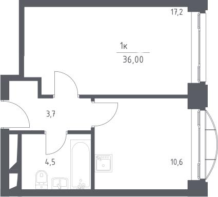 1-комнатная, 36 м²– 2