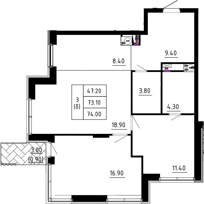 3Е-к.кв, 74 м², 3 этаж