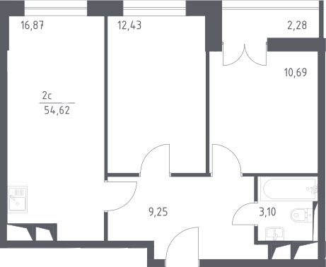 3Е-комнатная квартира, 54.62 м², 11 этаж – Планировка