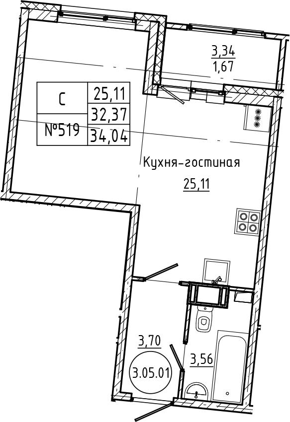 Студия, 34.04 м²– 2