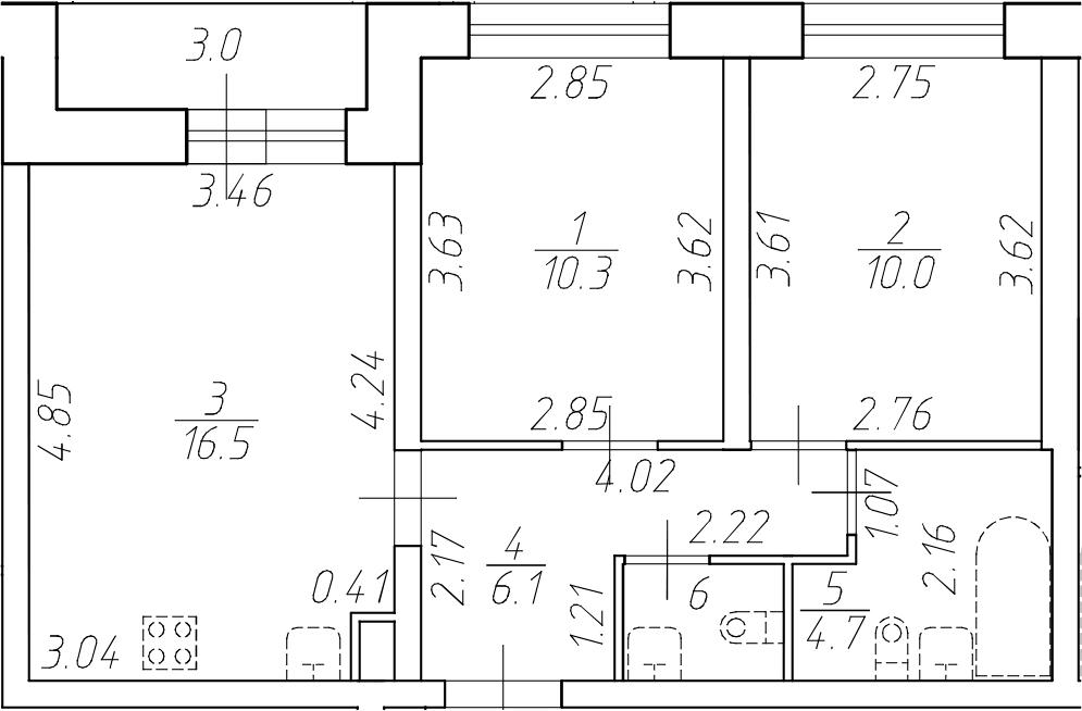 3Е-к.кв, 49.3 м²