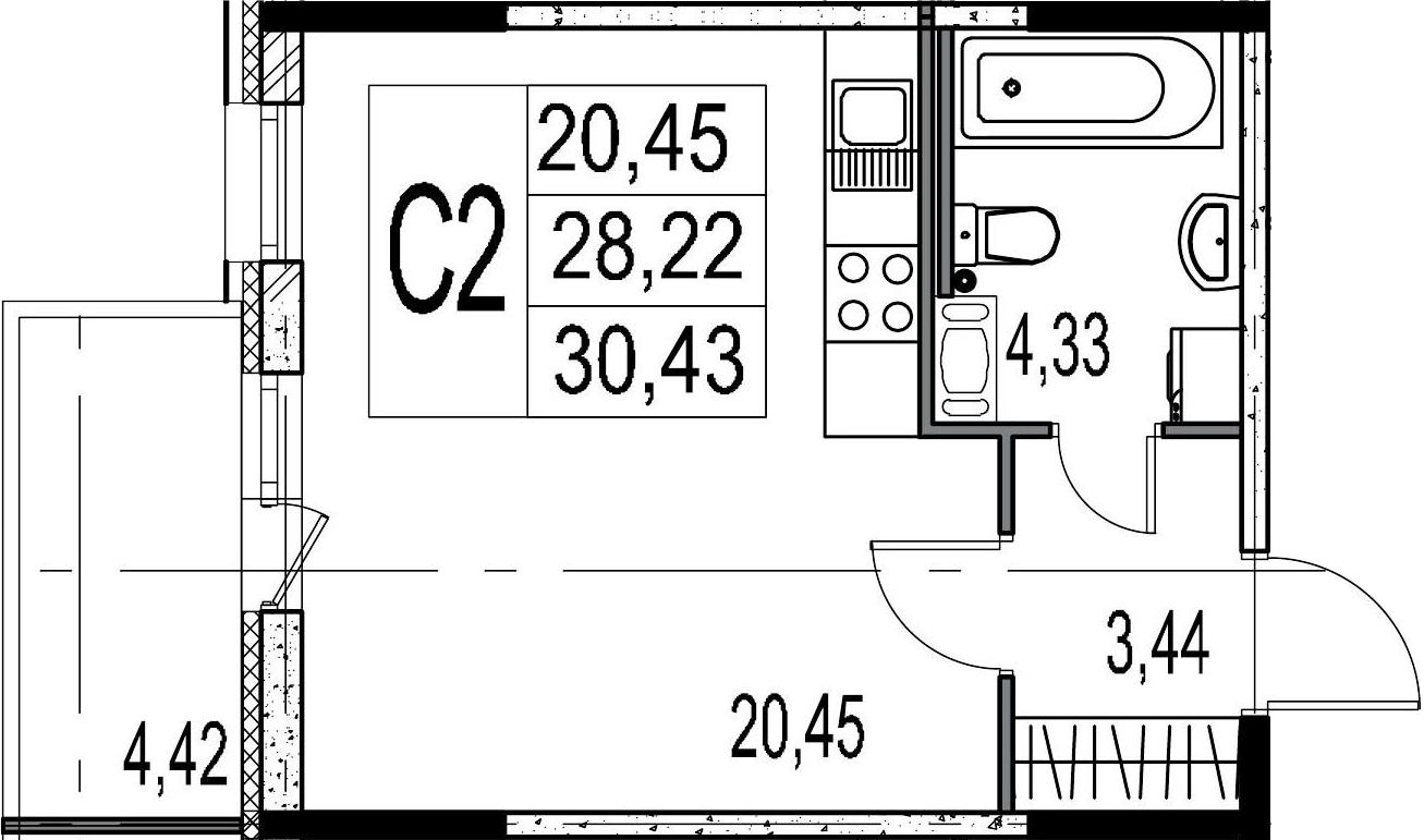 Студия, 28.22 м², 8 этаж
