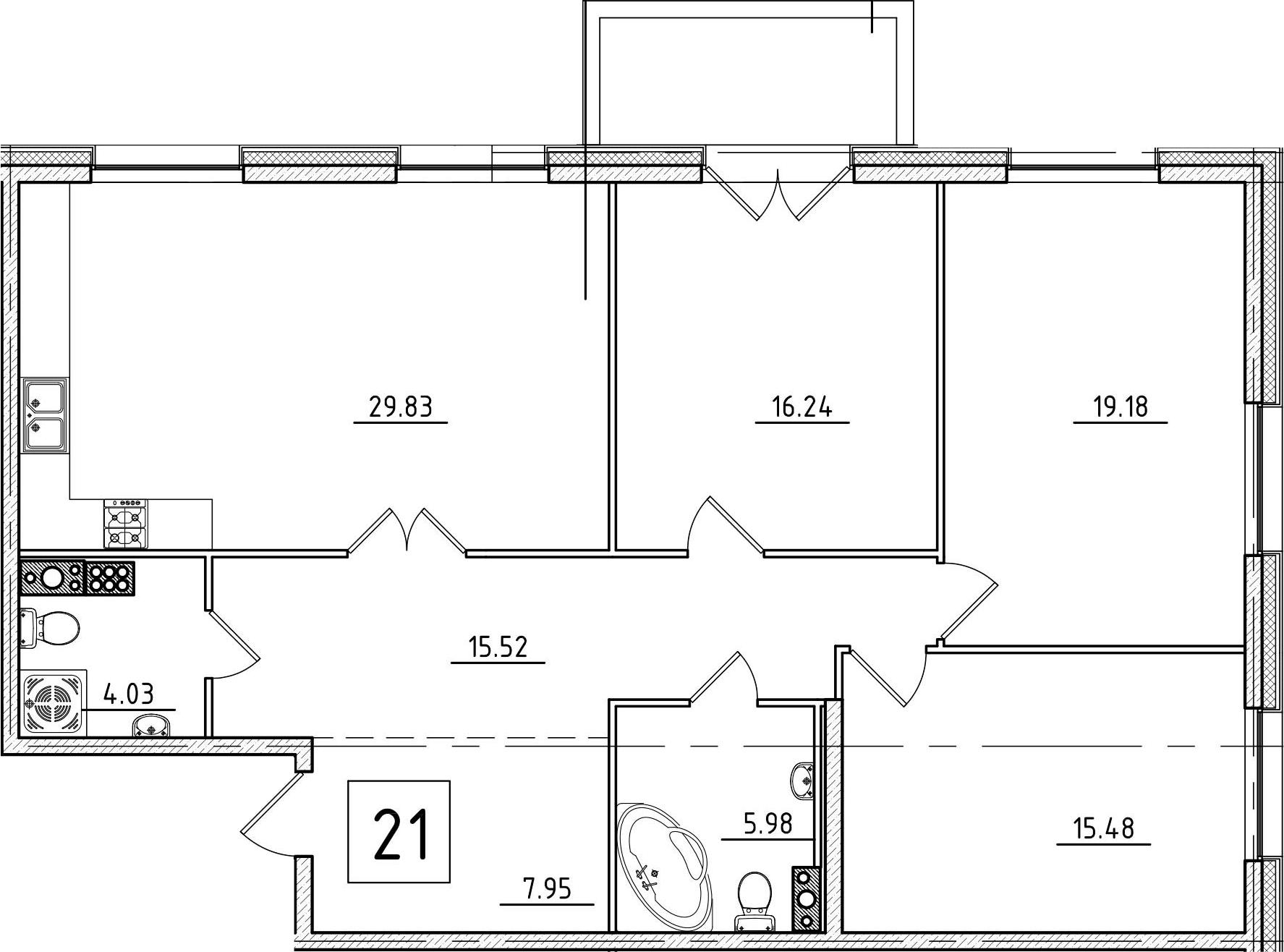 4Е-к.кв, 115.78 м², 7 этаж