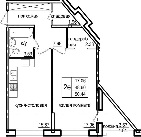 2-к.кв (евро), 52.28 м²