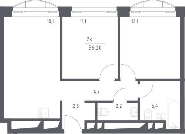 3Е-к.кв, 56.2 м², 21 этаж