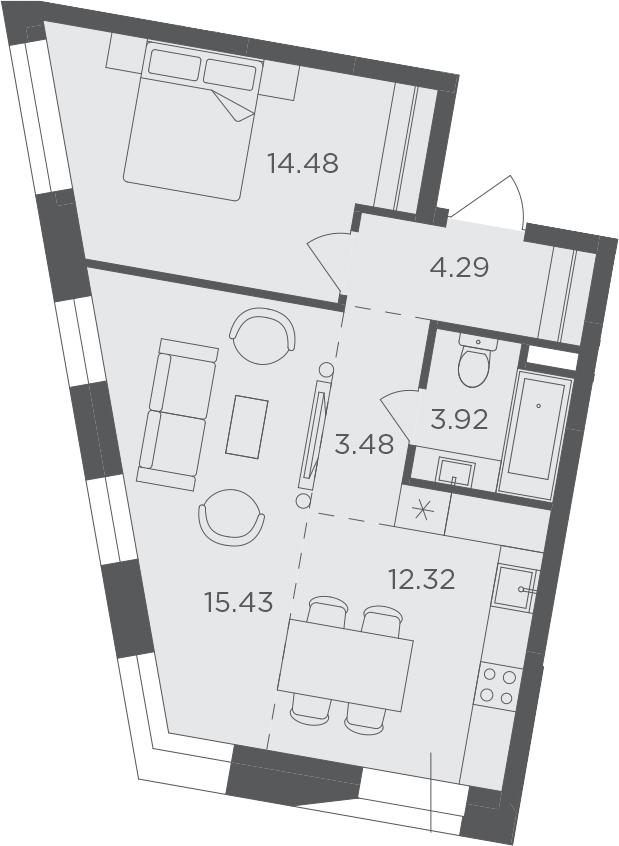 2Е-комнатная, 53.92 м²– 2