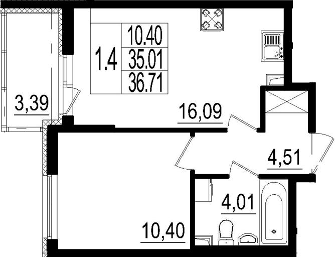 2Е-к.кв, 35.01 м²