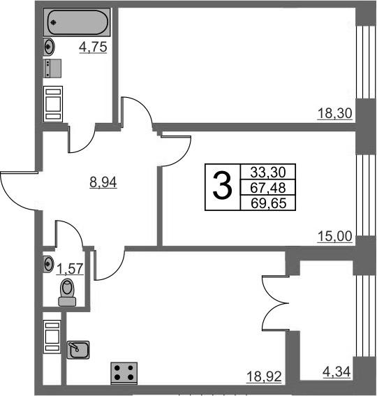 3Е-комнатная, 67.48 м²– 2