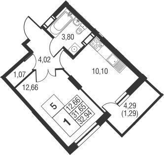 1-к.кв, 35.95 м²