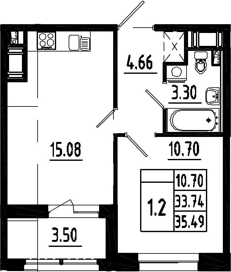 2-к.кв (евро), 37.24 м²