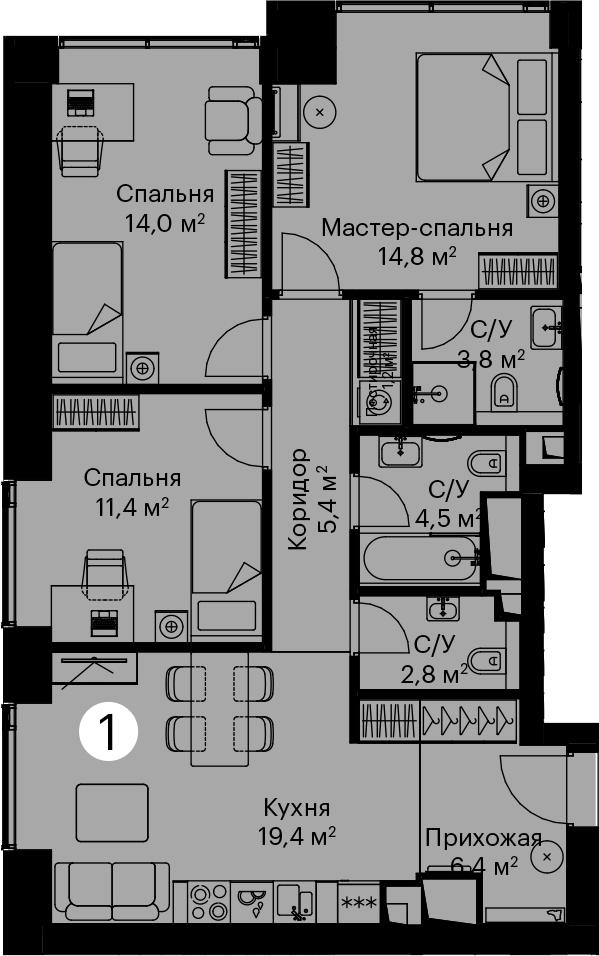 4-к.кв (евро), 82.5 м²