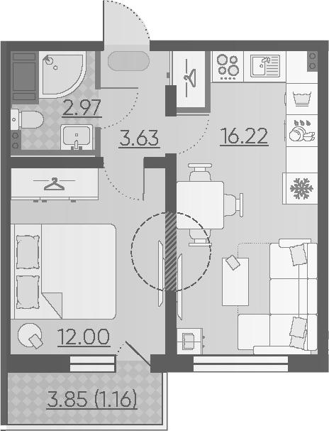 2Е-комнатная, 35.98 м²– 2