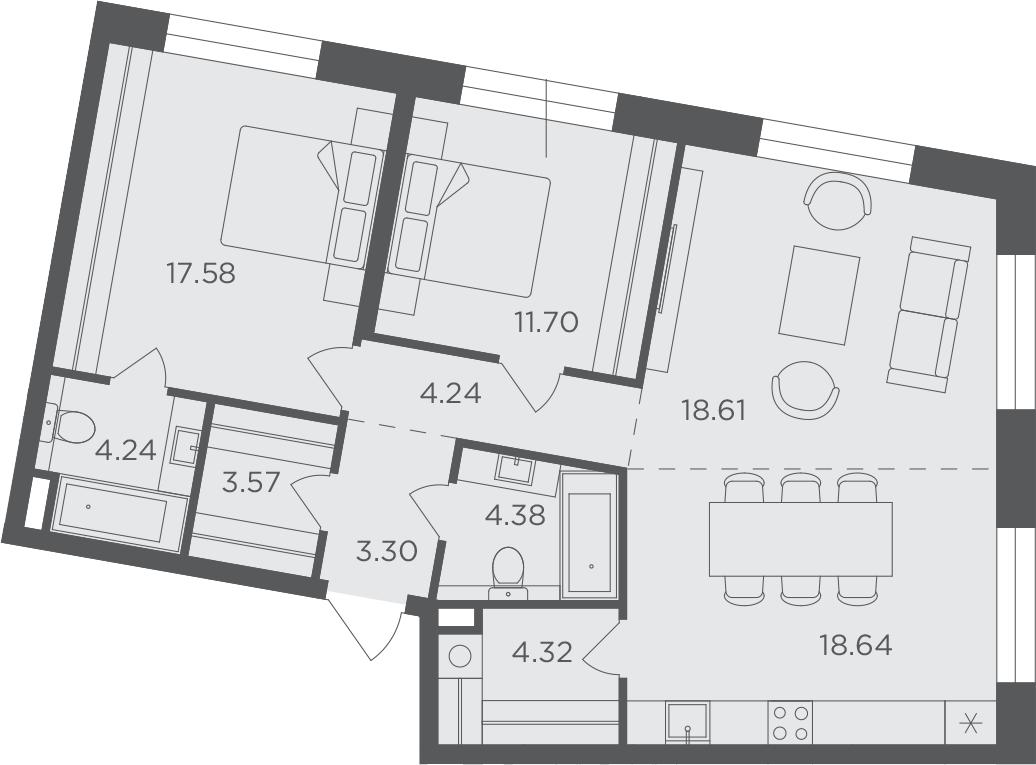 3-комнатная, 90.58 м²– 2