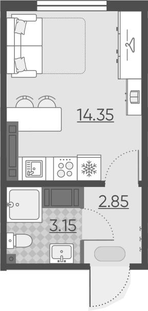 Студия, 20.35 м², 17 этаж – Планировка