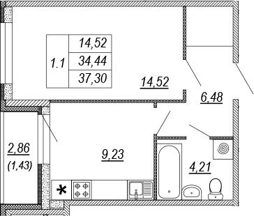 1-к.кв, 34.44 м², от 3 этажа