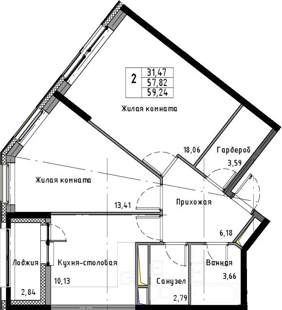 2-к.кв, 59.24 м², 3 этаж