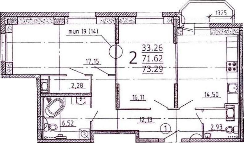 2-к.кв, 75.37 м²