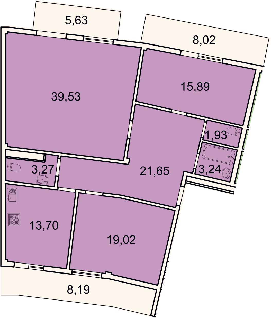 3-комнатная, 124.8 м²– 2