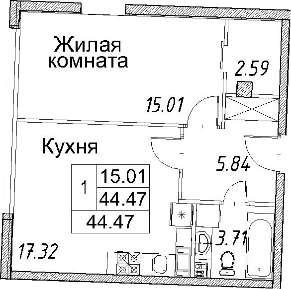 2Е-к.кв, 44.47 м²