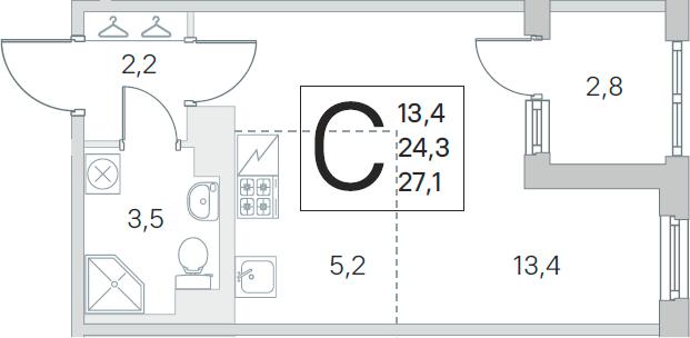 Студия, 24.3 м²– 2