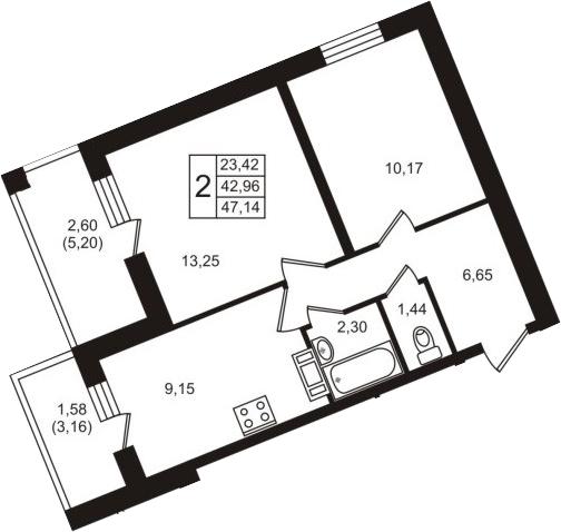 2-к.кв, 51.32 м²