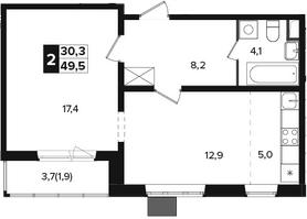 2-к.кв (евро), 51.4 м²