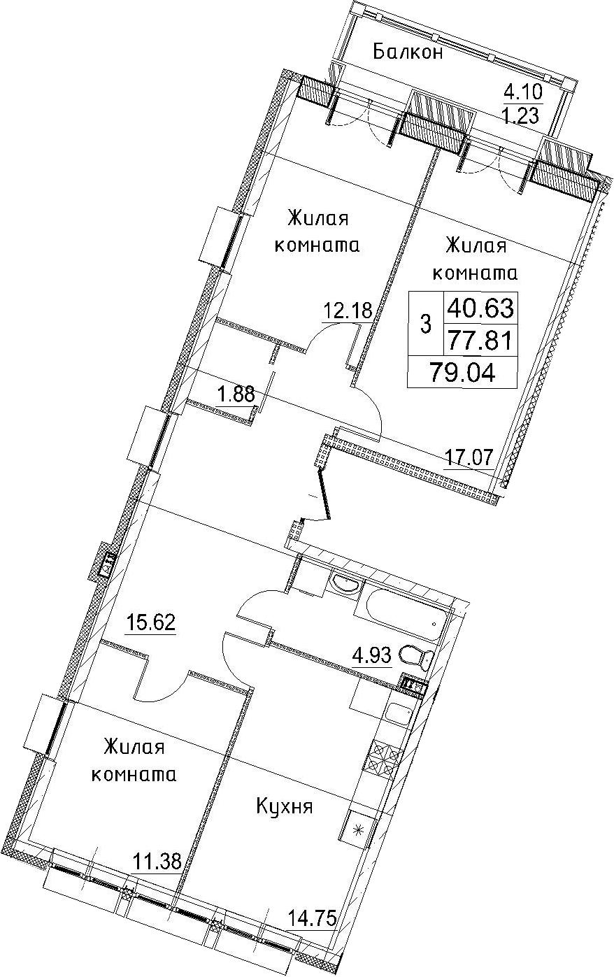 3-к.кв, 79.04 м²