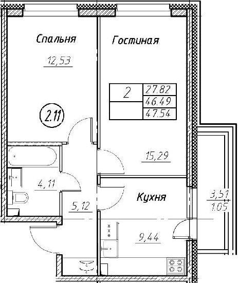 2-к.кв, 47.54 м²