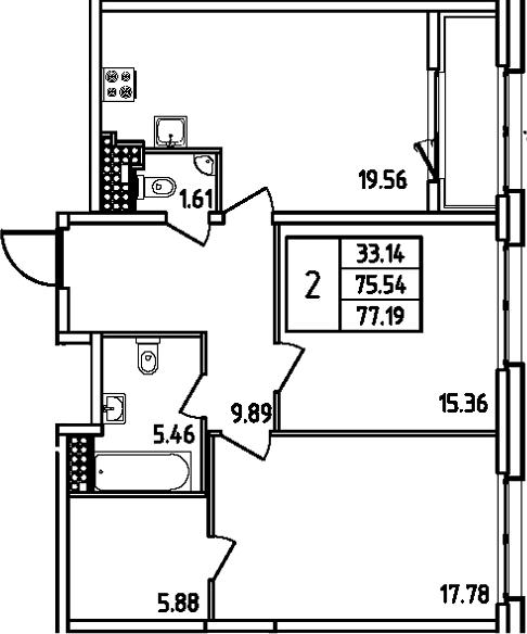 3Е-комнатная квартира, 77.19 м², 14 этаж – Планировка