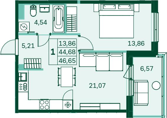 2-к.кв (евро), 51.26 м²
