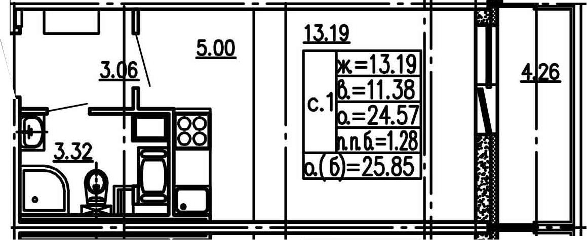 Студия, 24.57 м², 4 этаж