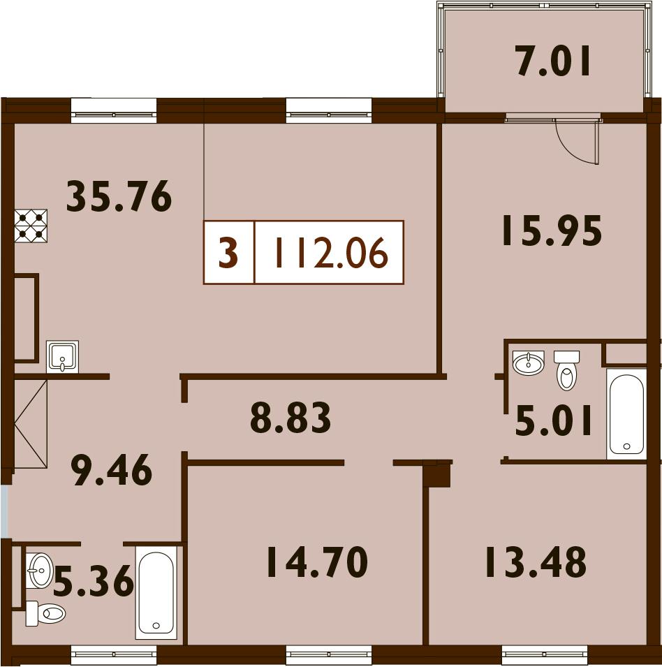4Е-комнатная, 112.06 м²– 2